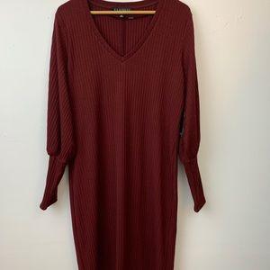 NWT Eloquii maroon balloon sleeve ribbed dress